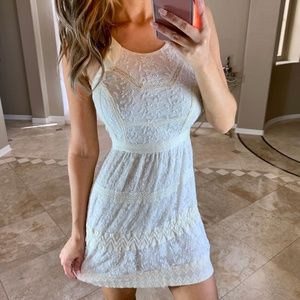 American Eagle Ivory Floral Lace Fit Flare Dress